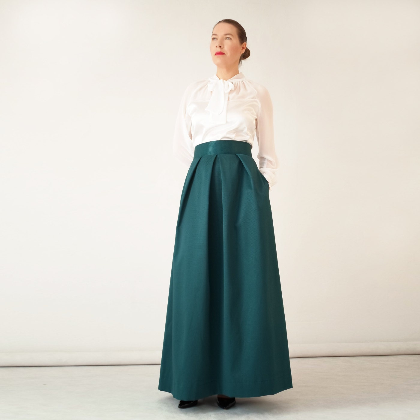 Evening long maxi skirt emerald green navy blue pleated