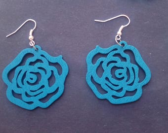 Rose shaped wood earrings