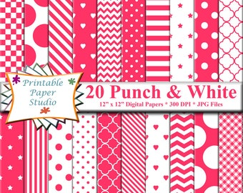 Punch Pink Digital Paper Pack, Pink Colored Paper for Cardmaking, Dark Pink Digital Scrapbook Paper 12x12, Instant Download Digital File