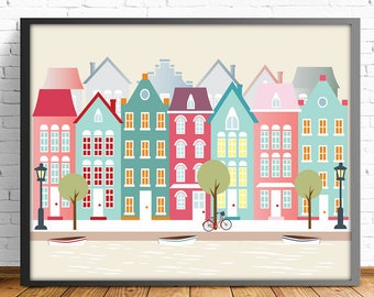 Amsterdam print, city print, poster Amsterdam, 4 SIZES INCLUDED,digital print, cityscape print, wall art decor, nursery decor, nursery print
