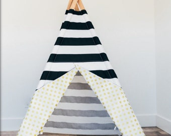 Black and White striped kids teepee with gold polka dots