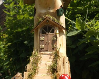 """The """"Mossy stairs"""" outdoor ready wooden fairy house with LED lights"""