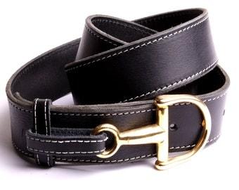Leather belt black buckle horsebit horseback riding creation handmade leatherwork workshop by fashion France