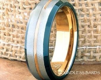 Tungsten Ring Tungsten Wedding Ring Men Women Wedding Band Promise Anniversary Engagement 7mm Tricolor Black Rose White Matching Ring Set