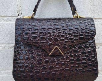 Vintage leather bag - gorgeous brown patent leather handbag