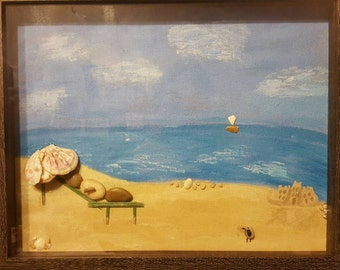 Relaxing at the beach with hand painted background.