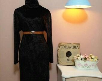 Women's Dress, Black dress, Winter Dress,70s Dress,Black Shift Vintage Dress For Women 1970s, Midi Dress, Long sleeves Dress,Maxi Dress