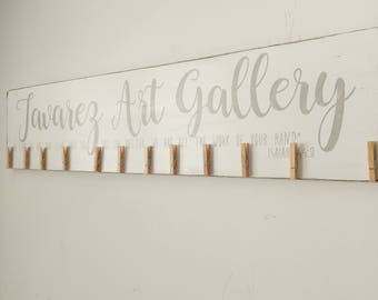 Personalized look what I made, childrens art gallery clip sign,  brag board photo display, mother's day gift, Home Decor, rustic decor