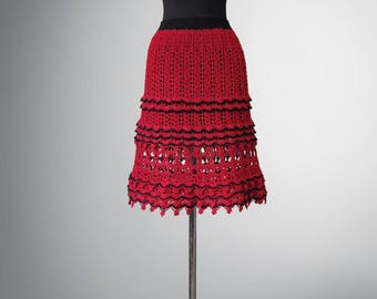 Crochet skirt Sally. Red-coloured organic cotton crochet skirt. Ready to ship. Free shipping.
