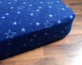 Navy blue Stars CRIB SHEET / flannel fitted sheet, nursery bedding, baby and toddler, stars at night