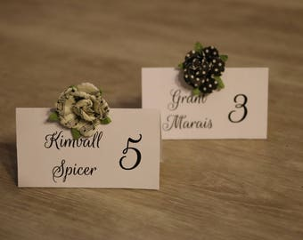 """Wedding Place Card with Vintage Paper Flower, Tented Place Card - 3 x 4"""""""