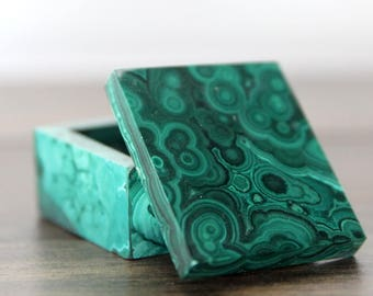 Genuine Malachite Box / Malachite Jewelry Box / Trinket Box (MB11)