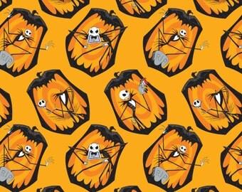 Nightmare Before Christmas Fabric / Jack Skellington Fabric / The Pumpkin King in Orange / Camelot 85390102 #2 / Yardage, Fat Quarters
