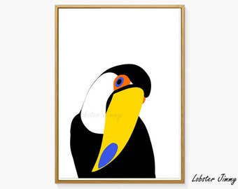 Tropical Birds Wall Art, Toucan Print, Nursery Wall Art, Kids Room Wall Decor, Birds Art