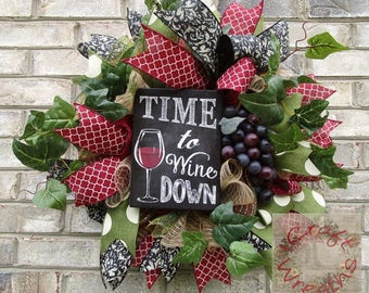 NEW! - 'Time to Wine Down' wine wreath