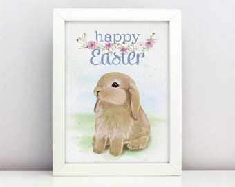Easter Print Baby Easter Bunny Poster  Card Happy able Nursery Poster Adorable Baby Farm Animal Floral Wreath Spring Print