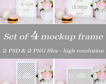 Set Peony Donut & Milk Mockup Bundle Frame Sweet Things Feminine Styled Stock Photography Download Frame Product Digital Background Photo