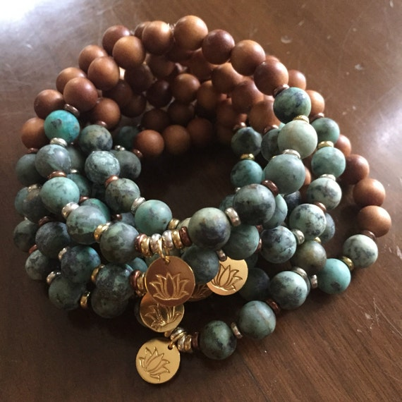 Stackable Sandalwood, Matte African Turquoise + Hill Tribe Gold Vermeil Lotus Yoga and Meditation Bracelet (single bracelet)