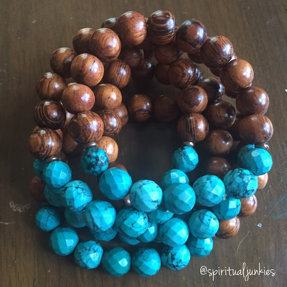 Stackable Funky Chunky 10 mm Bayong Wood + Faceted Turquoise Howlite Spiritual Junkies Yoga and Meditation Bracelet (single bracelet)
