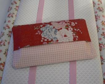 Tilda tissue case Pocket tissue holder with Tilda fabric red and pink Kleenex pouch  handmade in Paris France