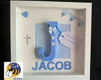 Personalised Initial Frame, Boys Christening Gift,