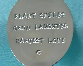 Silverplated Spoon  plant marker - plant smiles...