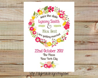 Floral Save The Date - Shabby Chic Custom Printable Wedding Stationery