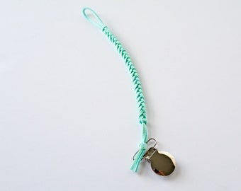 Faux Suede Braided Pacifier/Teether Clip - Mint