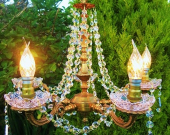 GORGEOUS LEAD CRYSTAL and Aurora Borealis Chandelier