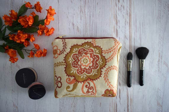 Orange and Beige Floral and Stripe Zipper Close Pouch. Small Makeup Holder Handmade with Recycled Fabric. Eco Friendly Bag with Flat Bottom