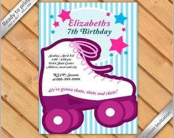 50% OFF SALE - Roller Skating Invitation Printable - Roller Skate for GIRL invitation party birthday