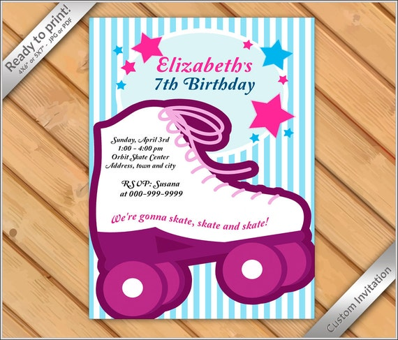 Personalized invitation roller skating invitation printable il570xn filmwisefo