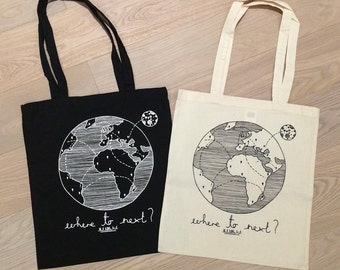 Where to Next Travellers Tote Bag, Nomad, World Map, Natural Canvas, Silk Screened Wunderlust