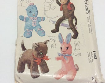 1940s Vintage Stuffed Sock Toys Sewing Pattern McCalls 1443 Sock Monkey, Kitty, Bunny, Doll UNCUT/Factory Folded ca.1948
