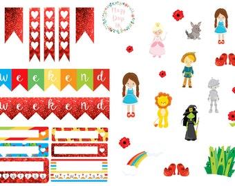 Emerald City, Vertical & Horizontal Planner Stickers, for Kikki.K, Filofax, Happy Planner, ECLP etc