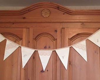 handmade LOVE bunting with lace