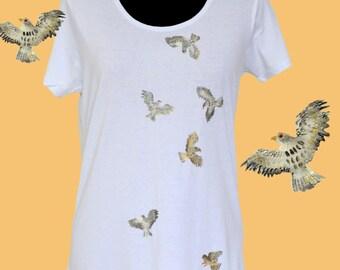 Hand painted t-shirt SIZE: medium  BIRDS ATTACK  tee