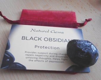 Natural Apache Tear Obsidian  25mm-30mm - With Information Card & Red Pouch (Lovely Gift)