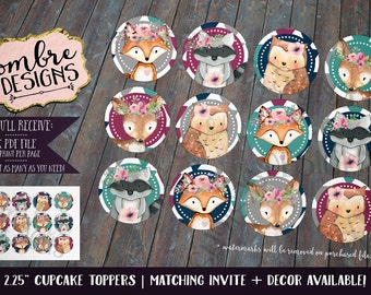 Woodland Cupcake Toppers, First Birthday, Woodland Baby Shower, Printable, Party Decor, Baby Shower, Decor, Decorations, Teal, Fuschia