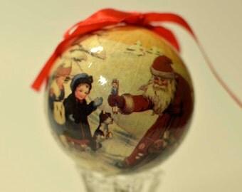 Vintage,Paper Mache Ball,Christmas ornament,Paper Mache Santa