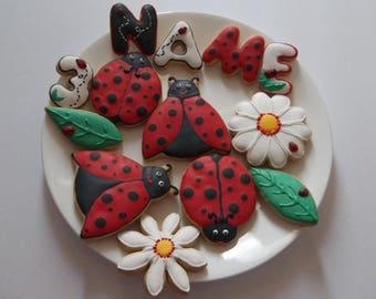 Ladybug cookies, ladybug decorate cookies, ladybug