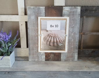 Farmhouse Style Pallet Barn Wood 8 x 10 Picture Frame.  Rustic Finish Beach Style Brown and Distressed Antique White