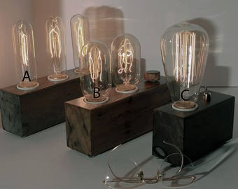 Wooden Edison Lamp, stained Wood lamp , Table Lamp, Desk Lamp,  1, 2 or 3 Edison Bulbs , Industrial Lamp, Steampunk Lamp,Industrial Lighting