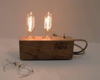 Cadeau unique pour papa, cadeau fête des pères, cadeau pour papa, papa Lampe en bois, lampe, lampe de bureau, lampe gravée, cadeau de Noël