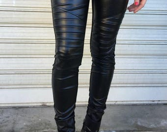 Long Faux Leather Leggings / Black Stretch Leggings with Zippers / Skinny Leather Pants / EXPRESS SHIPPING