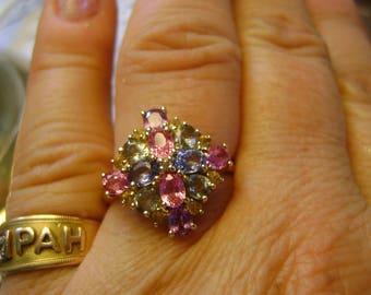 VINTAGE MULTI-SAPPHIRE & Diamond  Cluster Ring  9ct Yellow Gold - Q - Viva Las Vegas