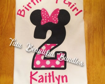 Minnie Mouse Personalized Birthday Girl Bodysuit/T-Shirt