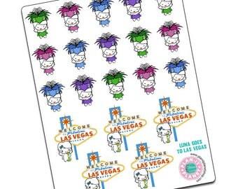 Luna Goes to Vegas -- Original Hand Drawn Stickers by Plan-It Planet