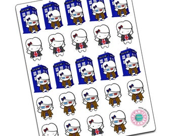 Luna Is A Whovian -- Original Hand Drawn Stickers by Plan-It Planet
