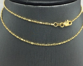 14K Yellow Gold Mix Bead Chain ~1.10MM